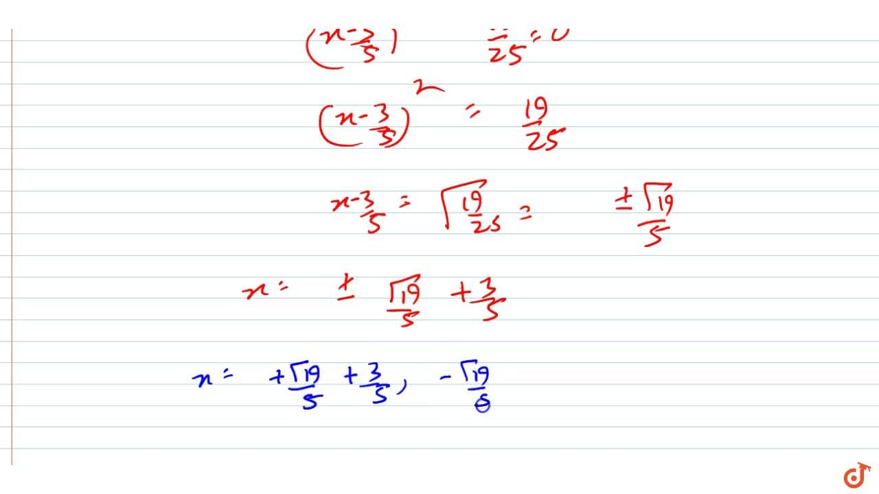 Solution for Find the roots  of the equation 5x^2-6x-2=0by th
