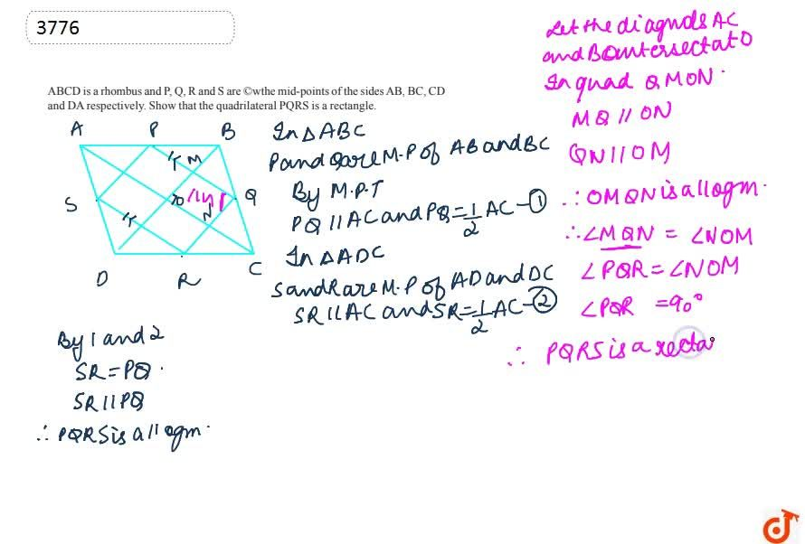 Solution for ABCD is a  rhombus and P, Q, R and S are mid-point