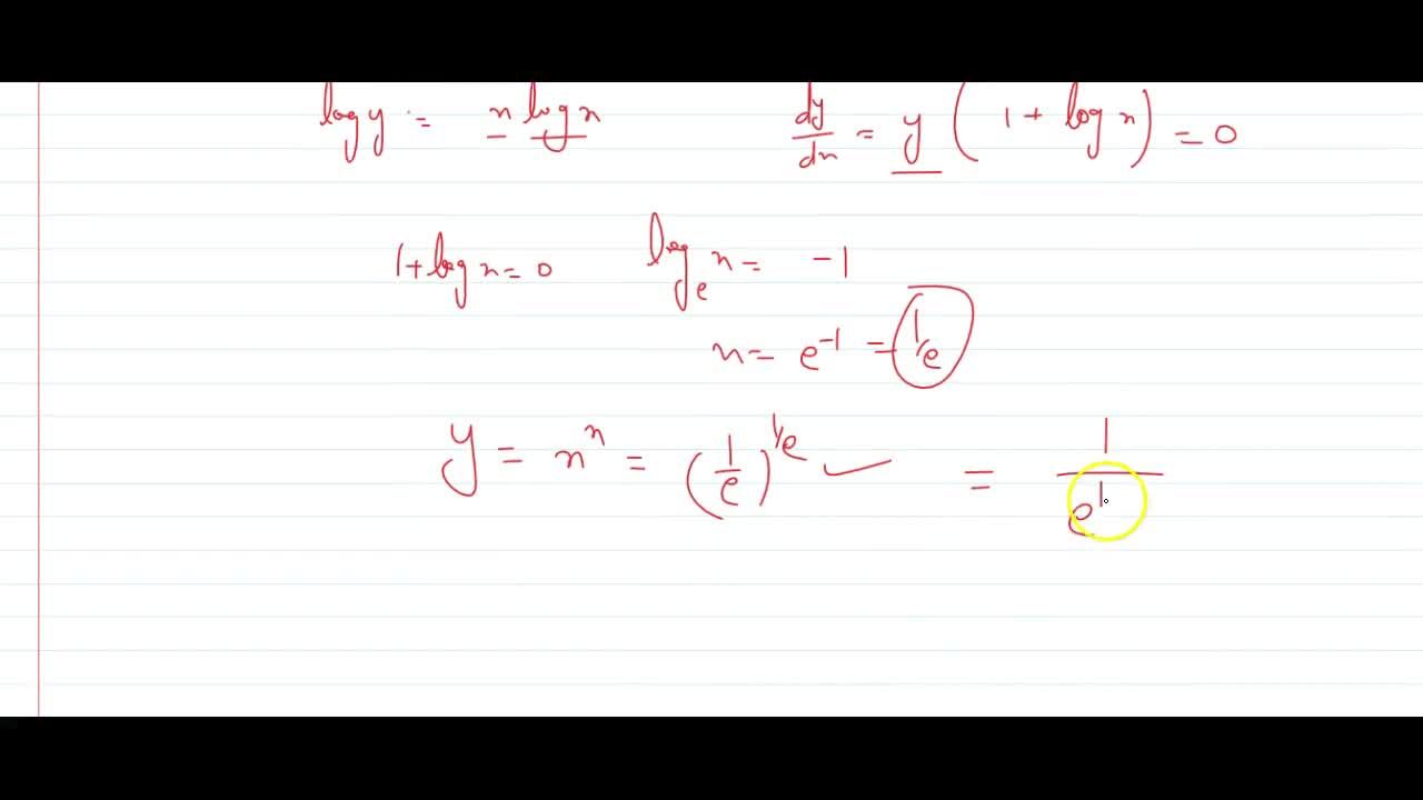 Solution for Ordinate of the point on the curve y=x^x, where