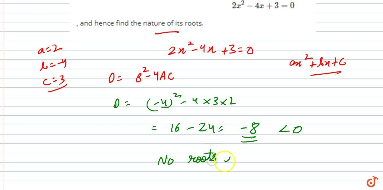 Solution for Find the  discriminant of the quadratic equation
