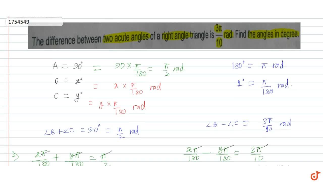 Solution for The difference between two acute angles of a right