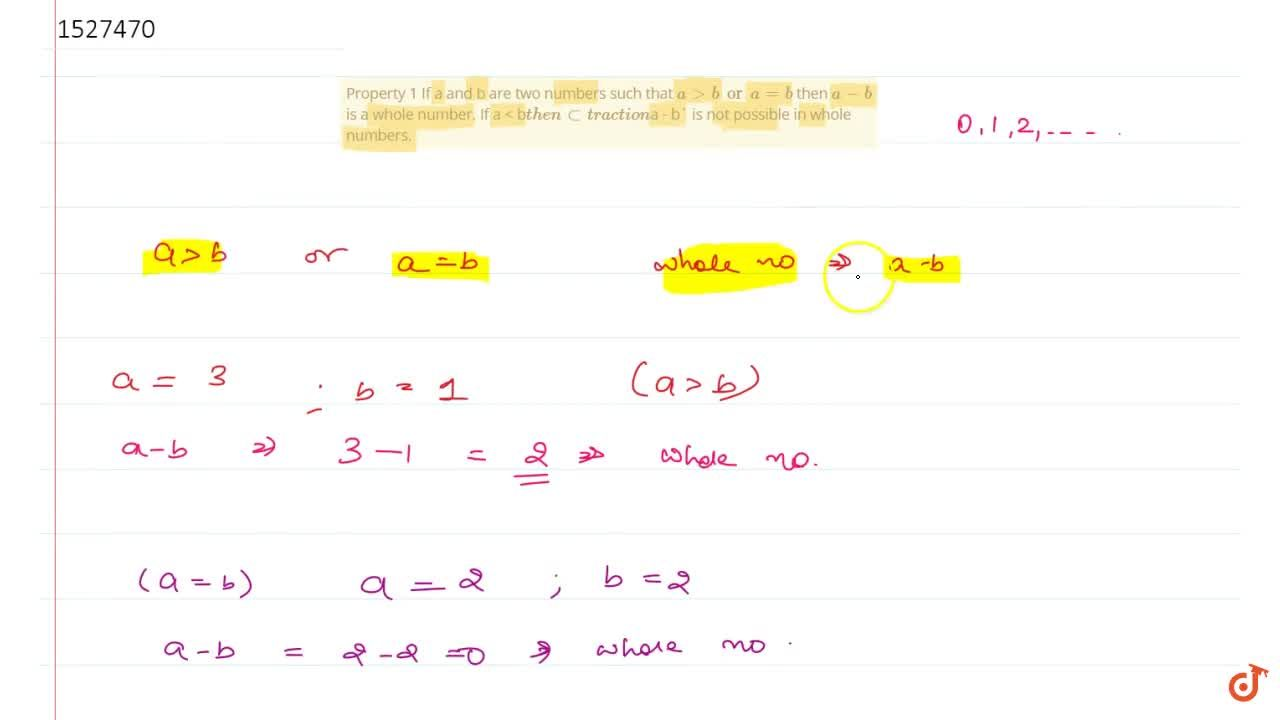 Solution for Property 1 If a and b are two numbers such that a