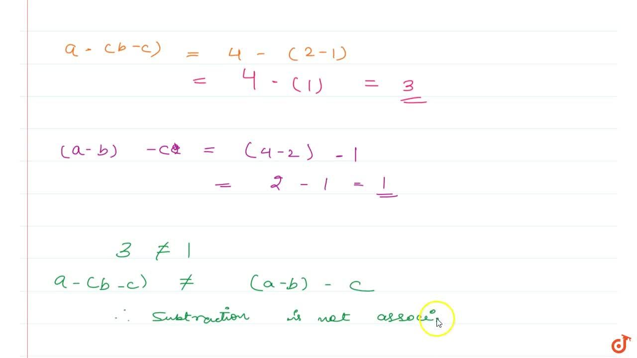 Solution for Property 4 The subtraction of whole numbers is not