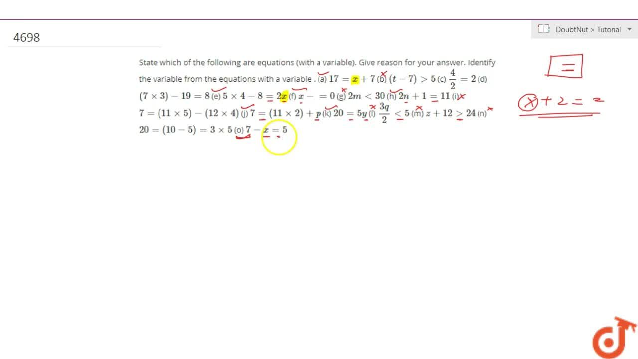 Solution for State which of the following are equations (with a