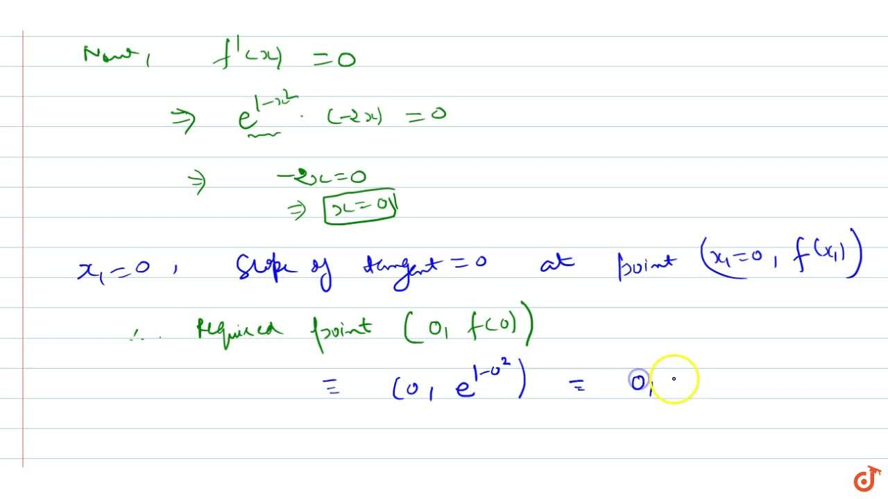 Solution for At what points on the   curve y=e^1-x^2 on [-1