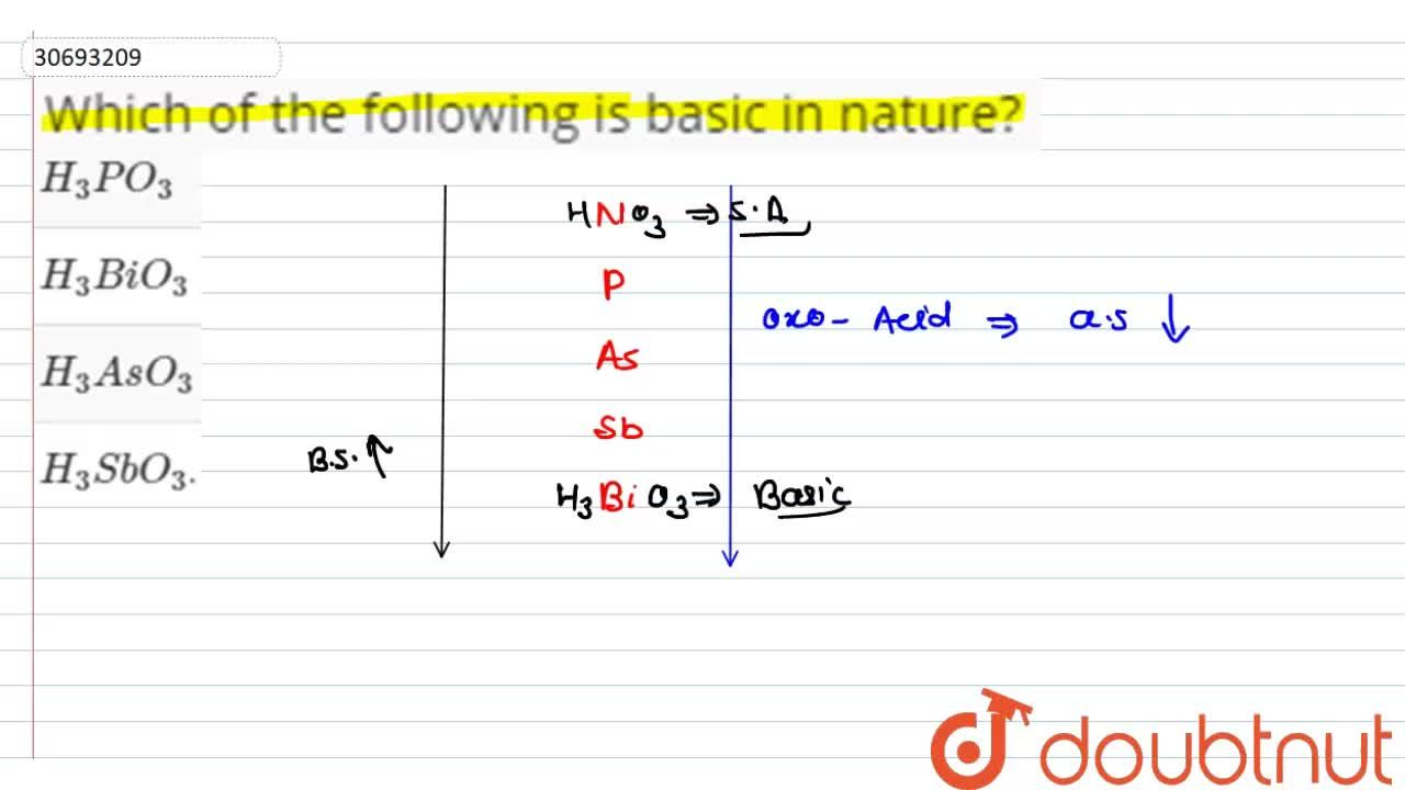 Solution for Which of the following is basic in nature?