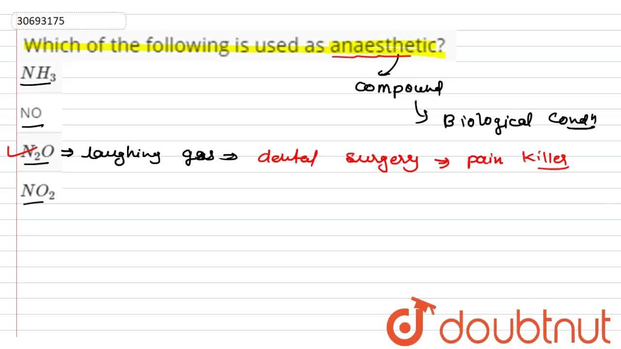 Solution for Which of the following is used as anaesthetic?