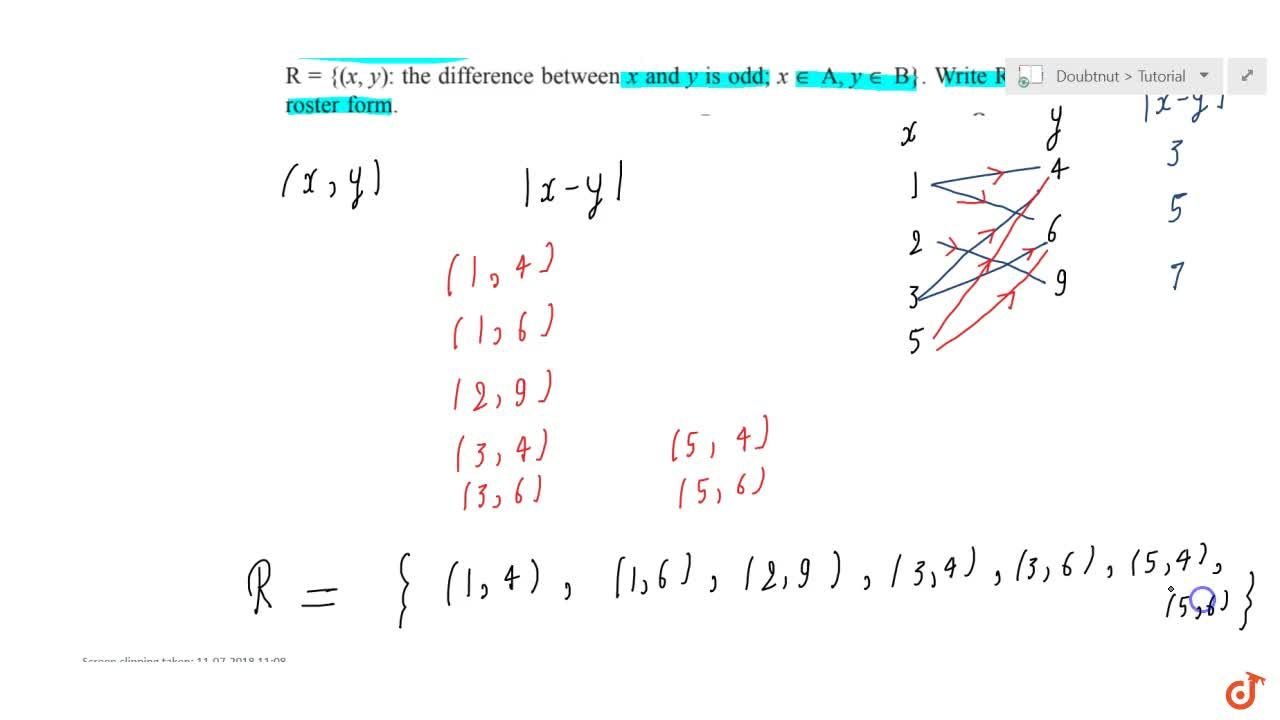 """Solution for A = {1, 2, 3. 5} """" and """" B = {4, 6, 9}. Define a"""