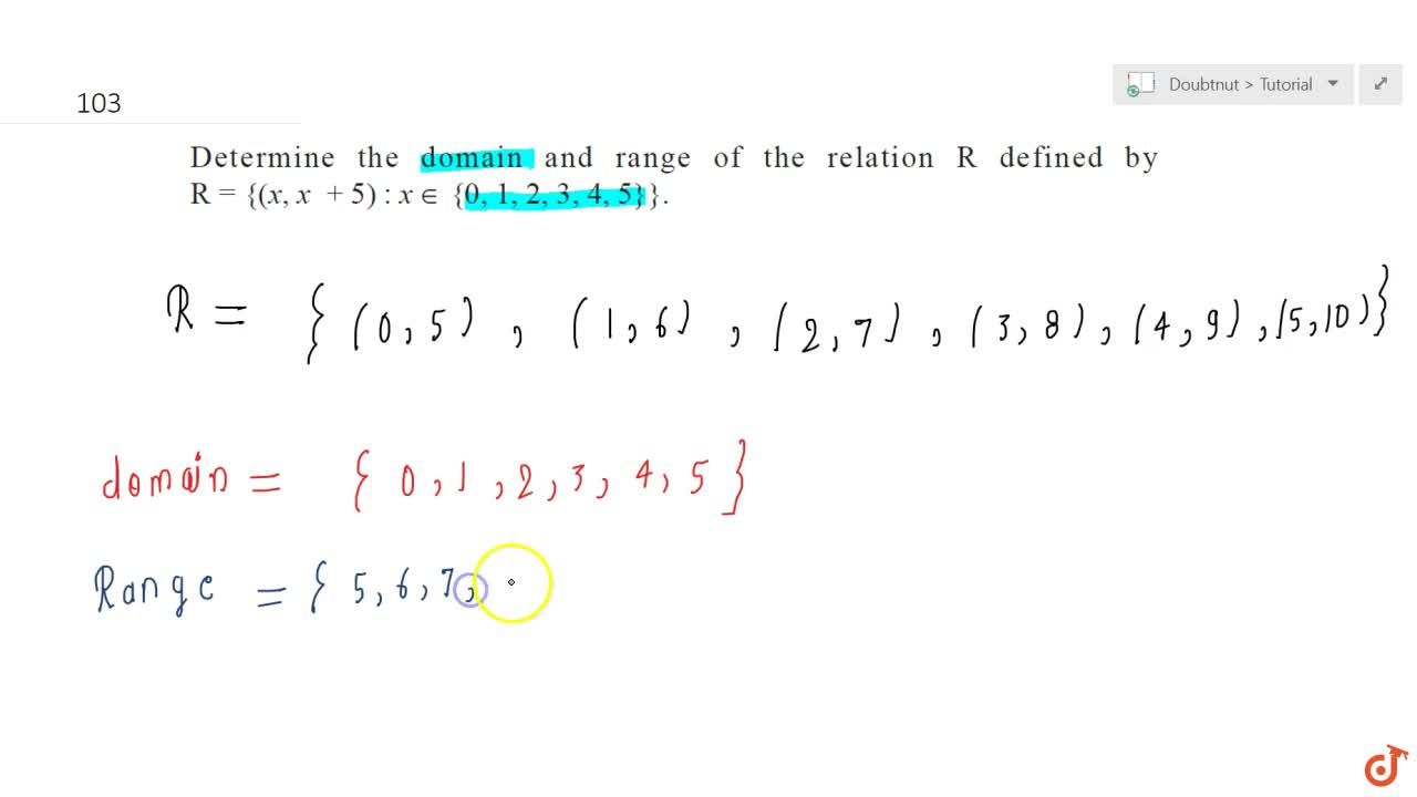 Solution for Determine the domain and range of the relation R d