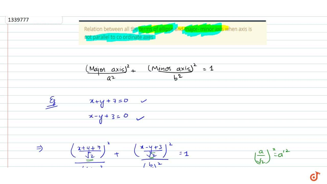 Solution for Relation between all the terms  of ellipse and maj
