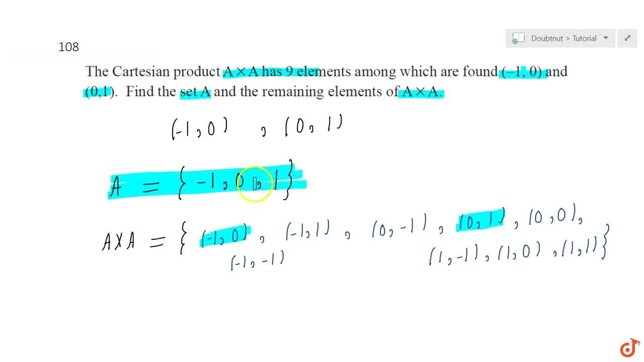 Solution for  The Cartesian product A xxA  has 9 elements amo