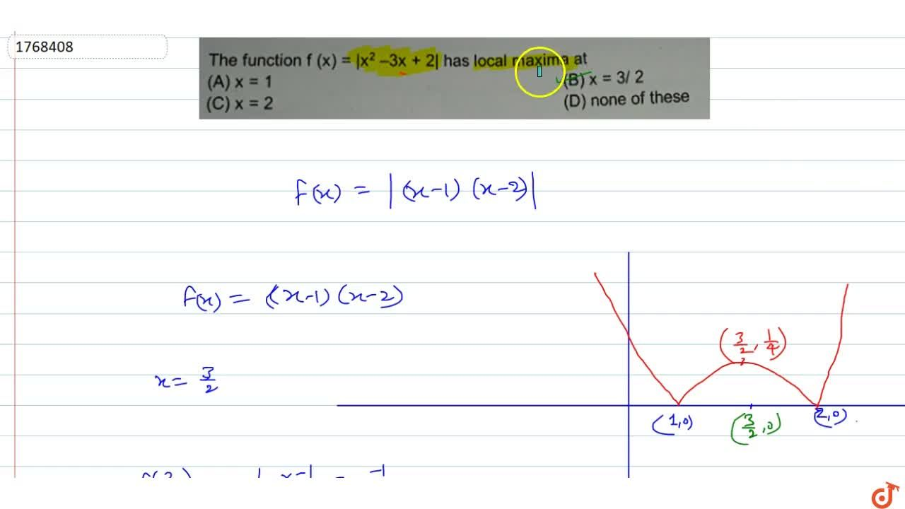 Solution for  The function f(x) = |x^2 – 3x + 2| has local ma