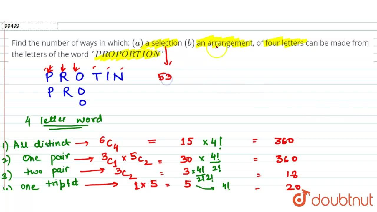 Solution for Find the number of ways in which: (a) a selectio