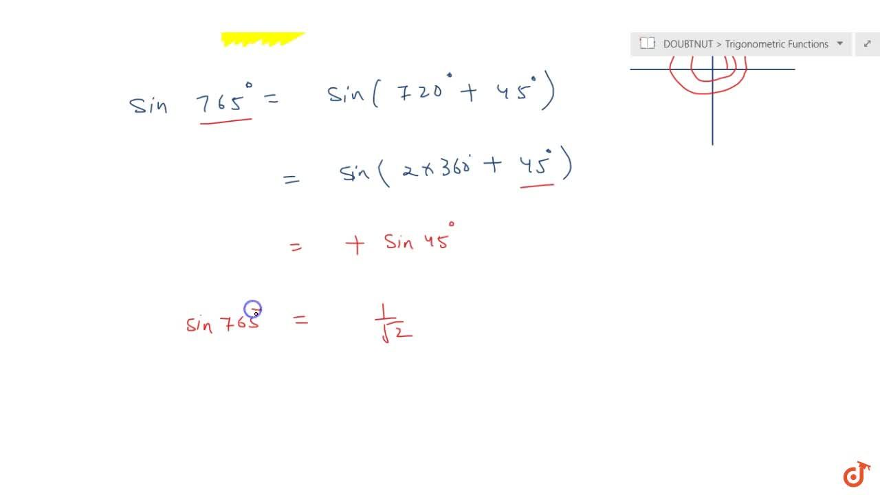 Solution for Find the values  of the trigonometric function sin