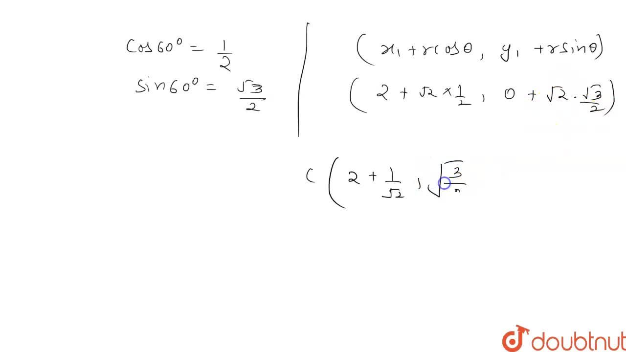 Solution for The line joining two points A(2,0) and B(3,1) is r