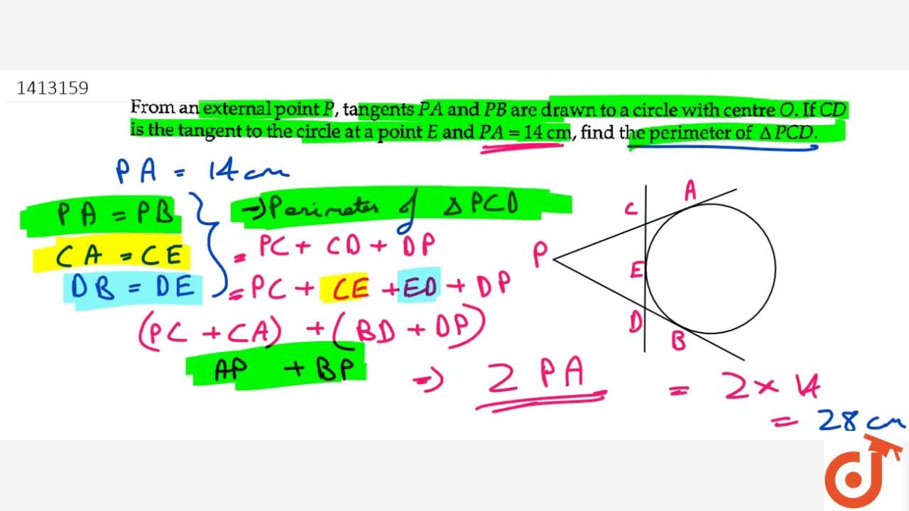 Solution for From an   external point P , tangents P A and