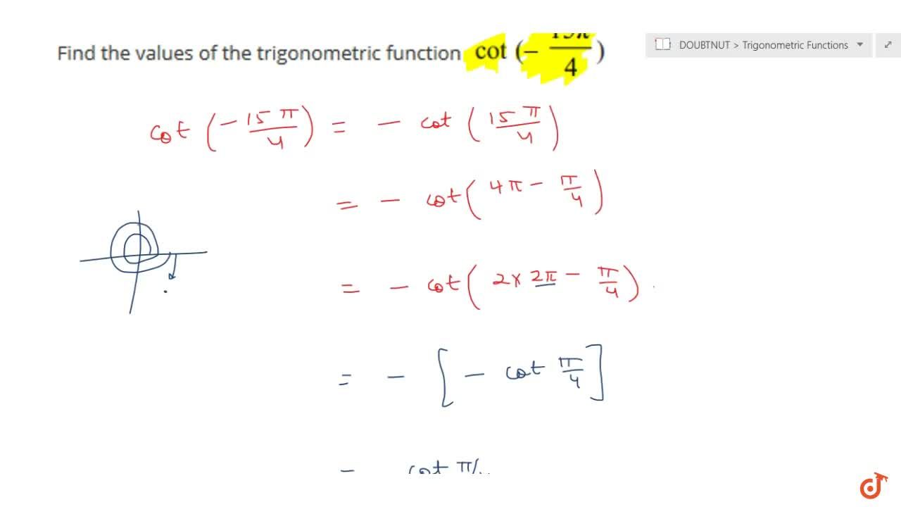Solution for Find the values of the trigonometric function cot