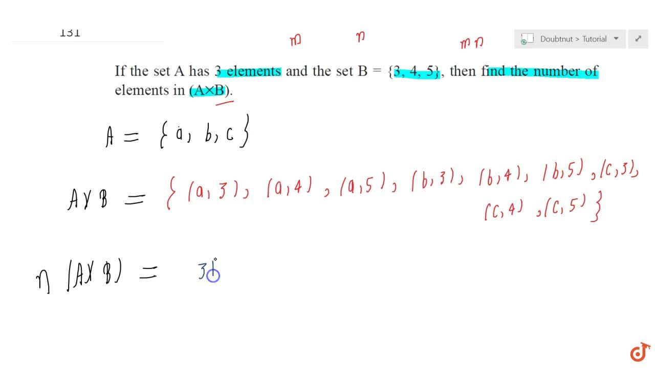 Solution for If the set A has 3 elements and the set B = {3, 4
