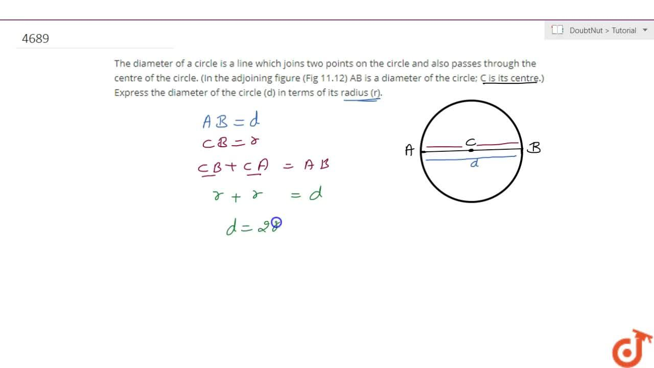 Solution for The diameter  of a circle is a line which joins tw