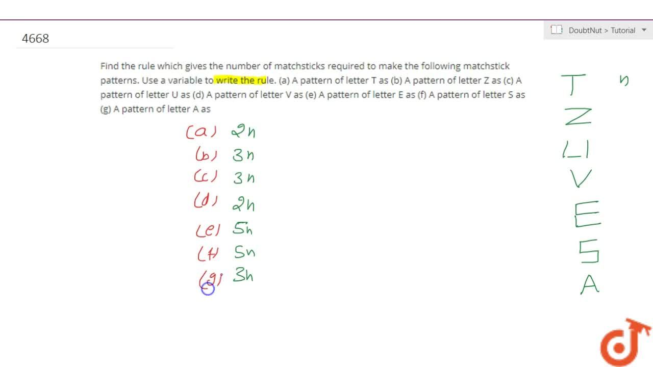 Solution for Find the rule which gives the number of matchstick