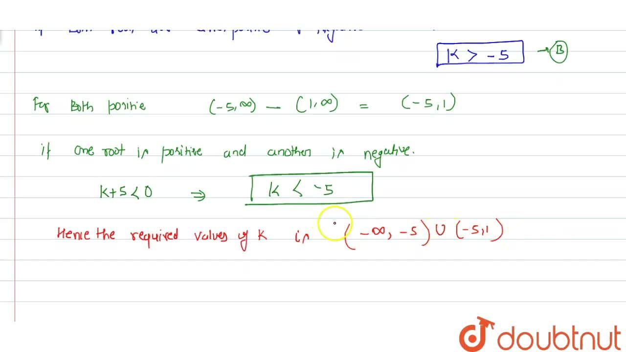 Find the values of k so that the quadratic equation x^2+2(k-1)x+k+5=0 has atleast one positive root