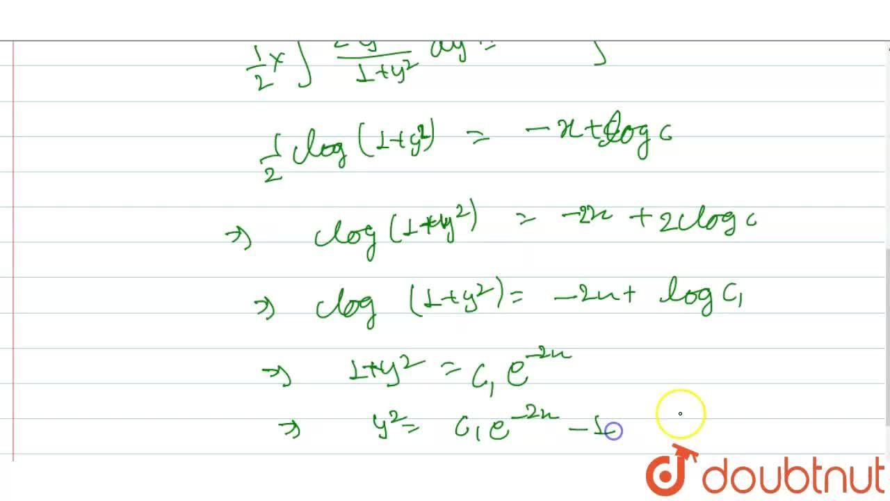 Solution for अवकल समीकरण (dy),(dx)+(1+y^(2)),(y)=0 को हल कीजि