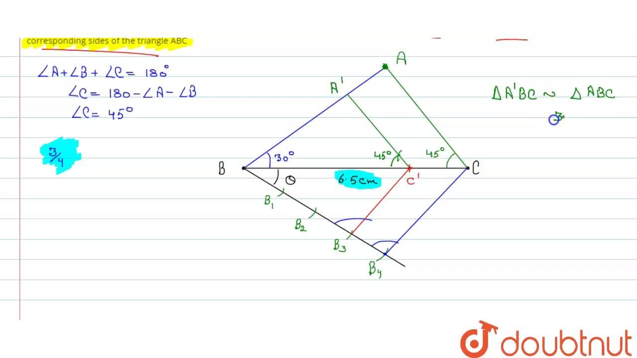 Solution for Darw a triangle ABC with side BC=6.5cm, ,_B= 30^(