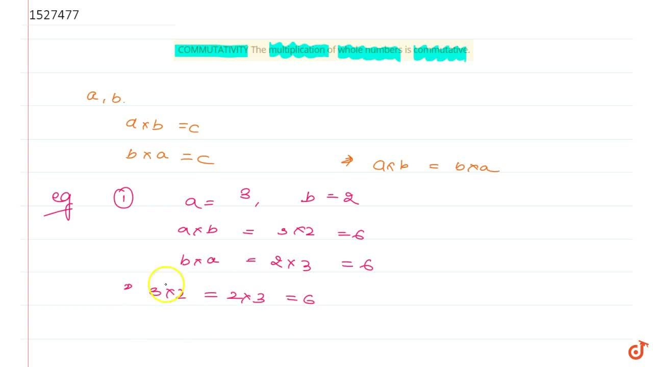 Solution for COMMUTATIVITY The multiplication of whole numbers
