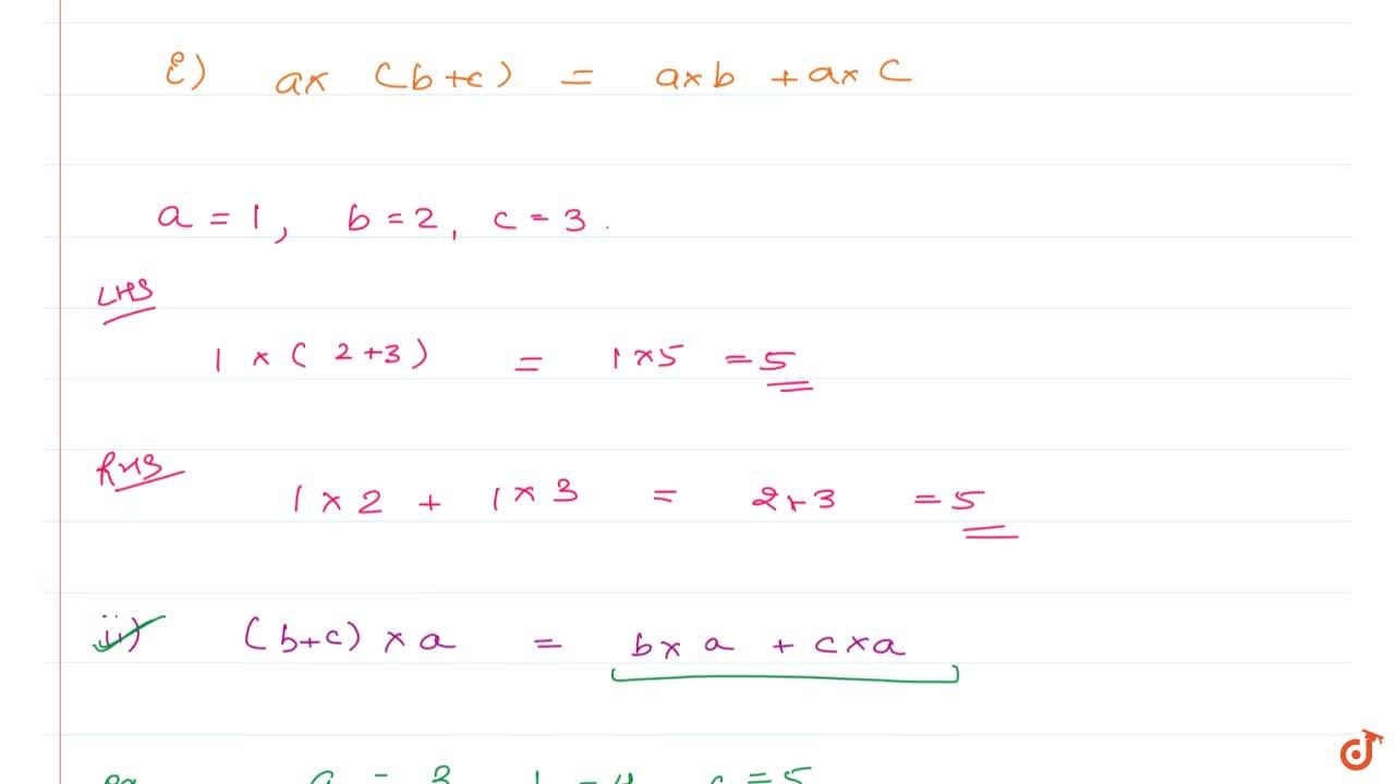 Solution for DISTRIBUTIVITY OF MULTIPLICATION OVER ADDITION If