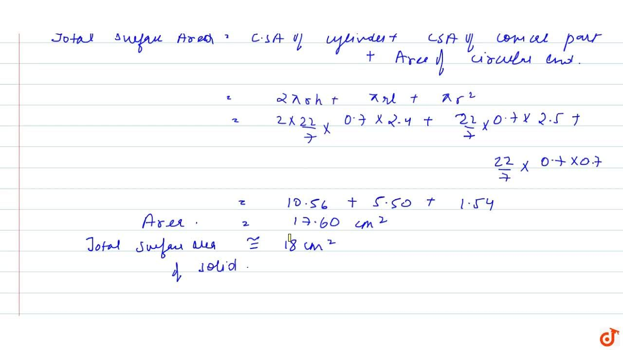 From a solid cylinder whose height is 2.4 cm and  diameter 1.4 cm, a conical cavity of the same height and same diameter is  hollowed out. Find the total surface area of the remaining solid to the  nearest c m^2