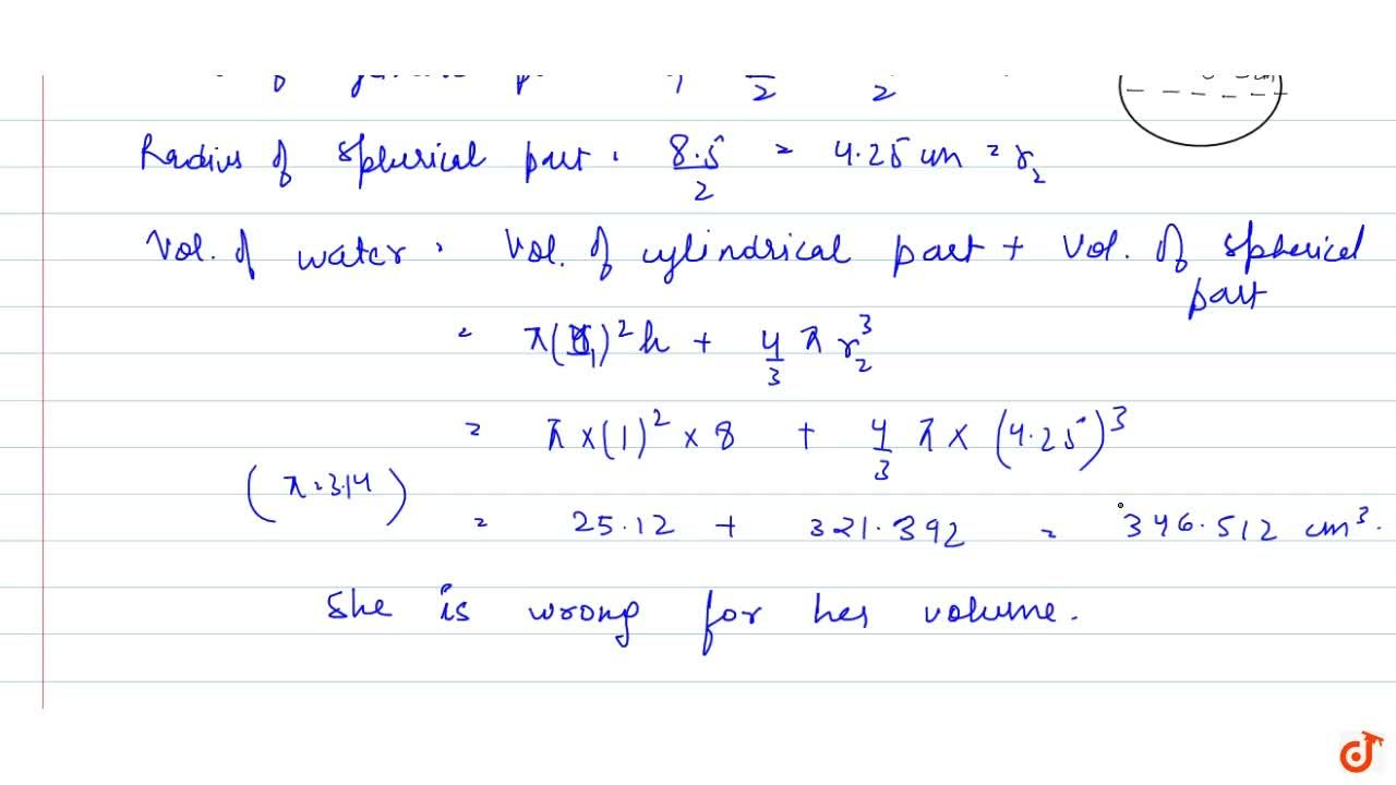 Solution for A spherical glass vessel has a cylindrical neck 8