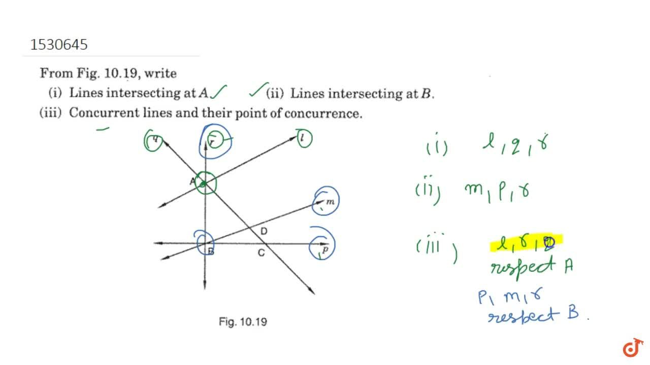 From Figure, write Lines intersecting at A  Lines intersecting at B  Concurrent lines and their point of concurrence.