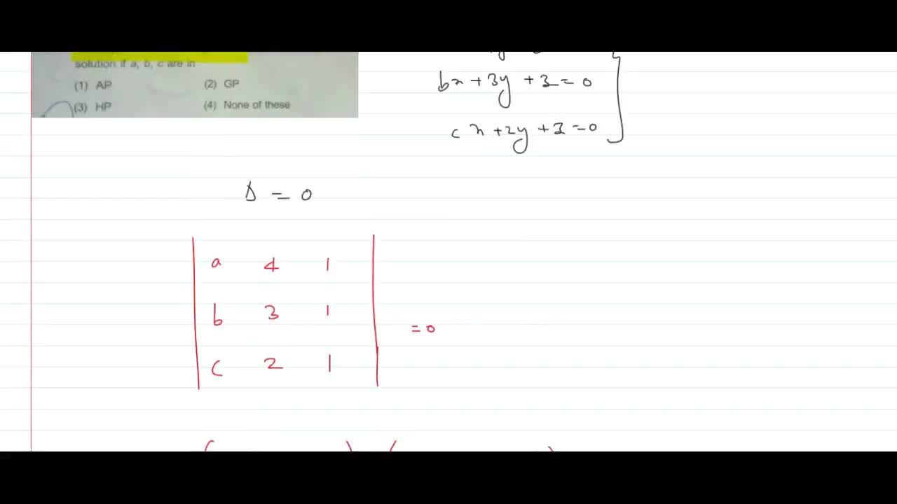Solution for The system of equations ax + 4y + z = 0,bx + 3y +