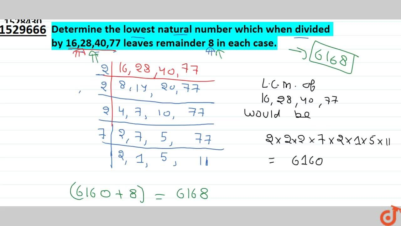 Solution for Determine the lowest natural number which when
