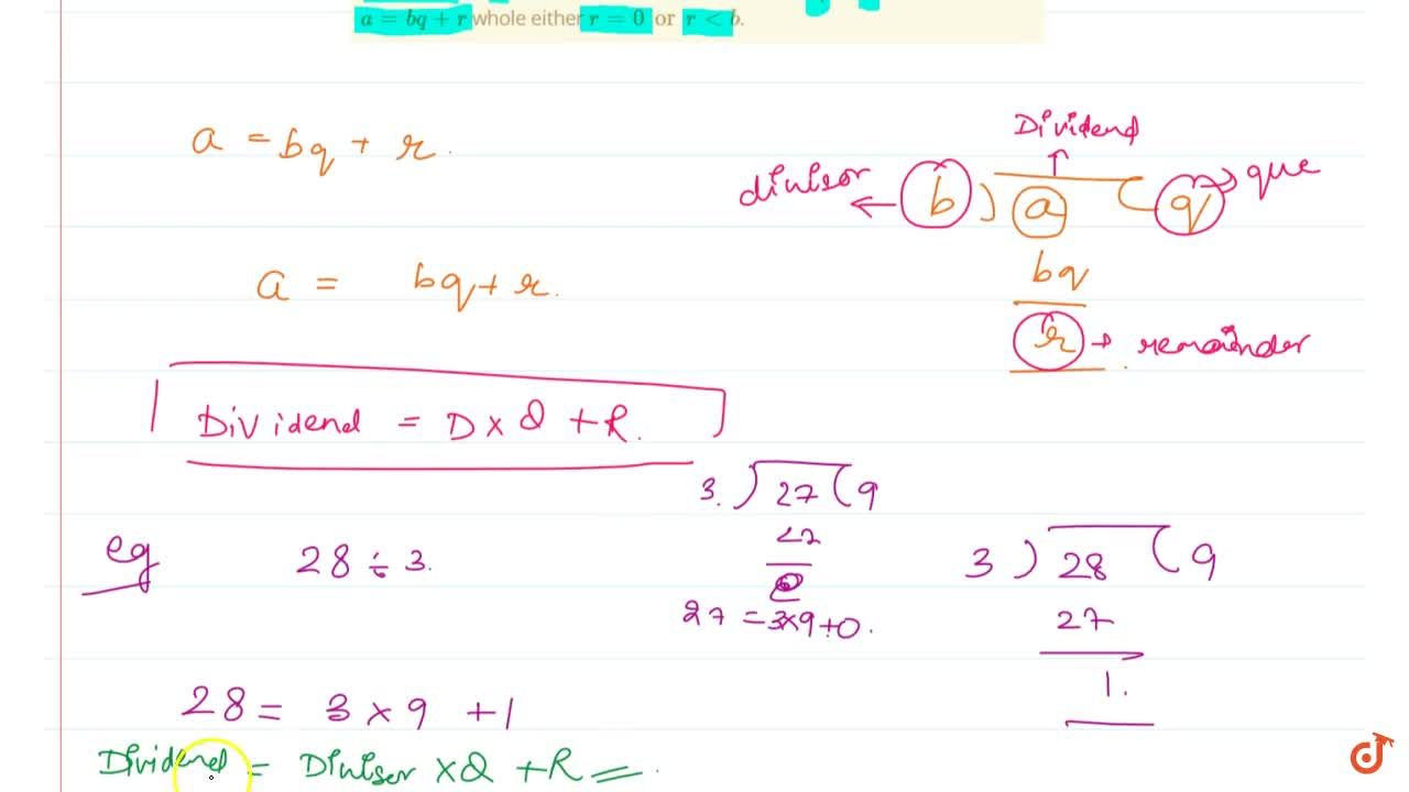 Solution for Property 7 (DIvision Algorithm) If a whole number