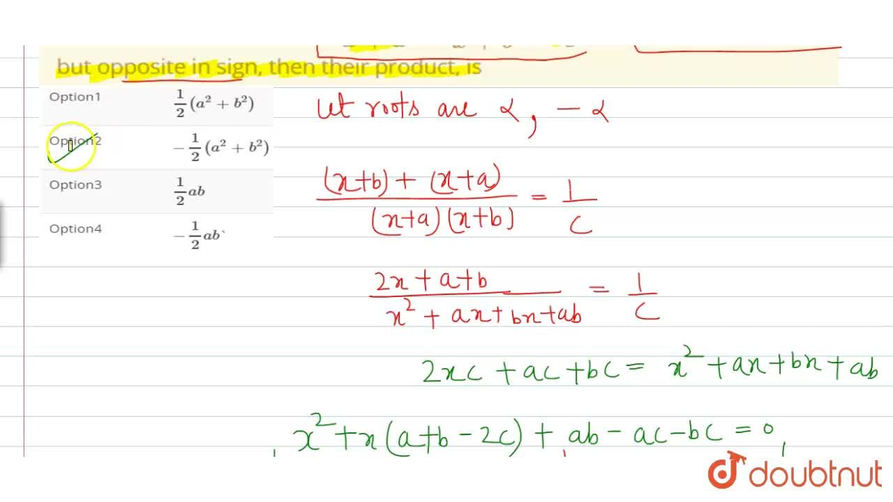 Solution for If the roots of the equation (1),(x+a) + (1),(x+b