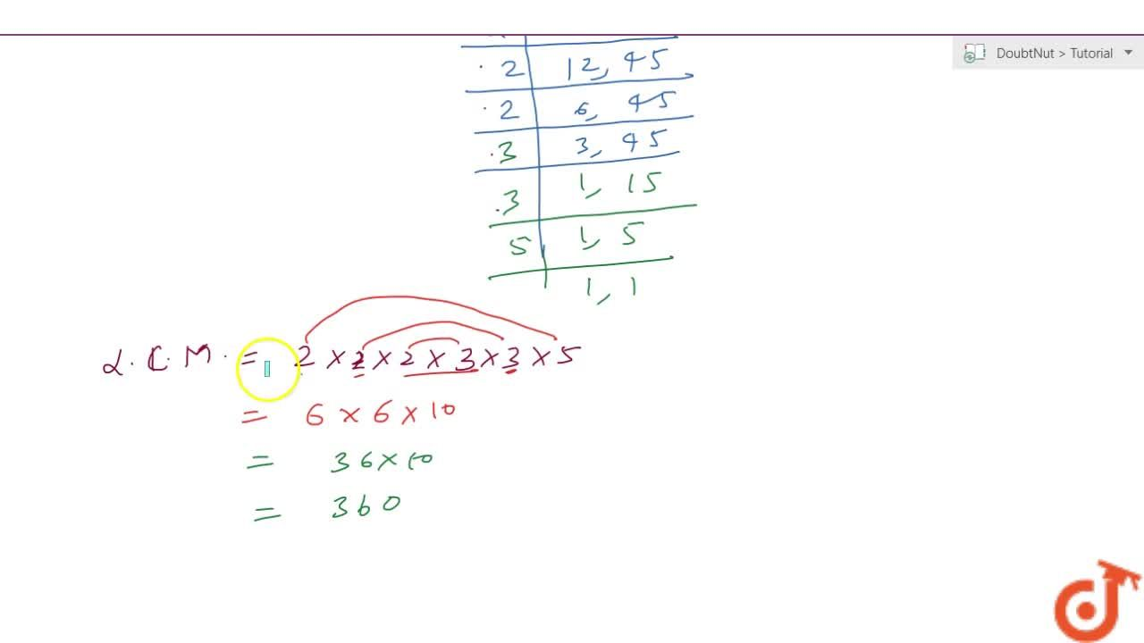 Solution for Find the LCM of 24 and 90.