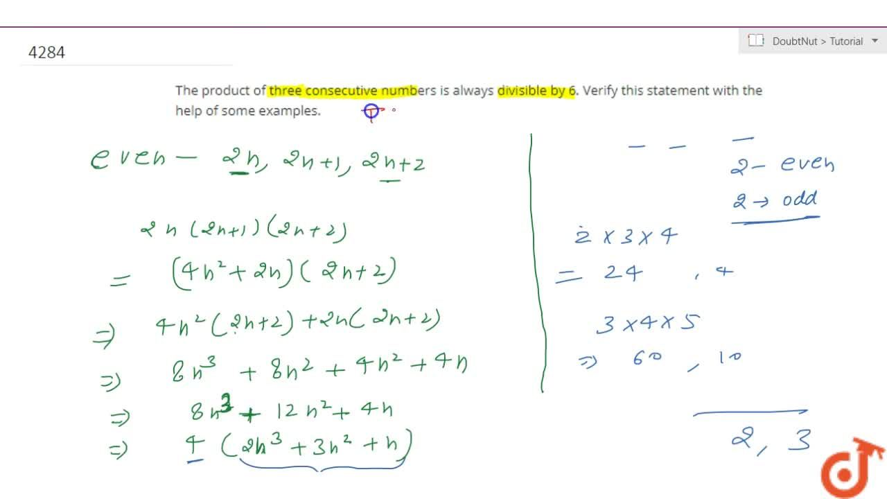 Solution for The  product of three consecutive numbers is alway