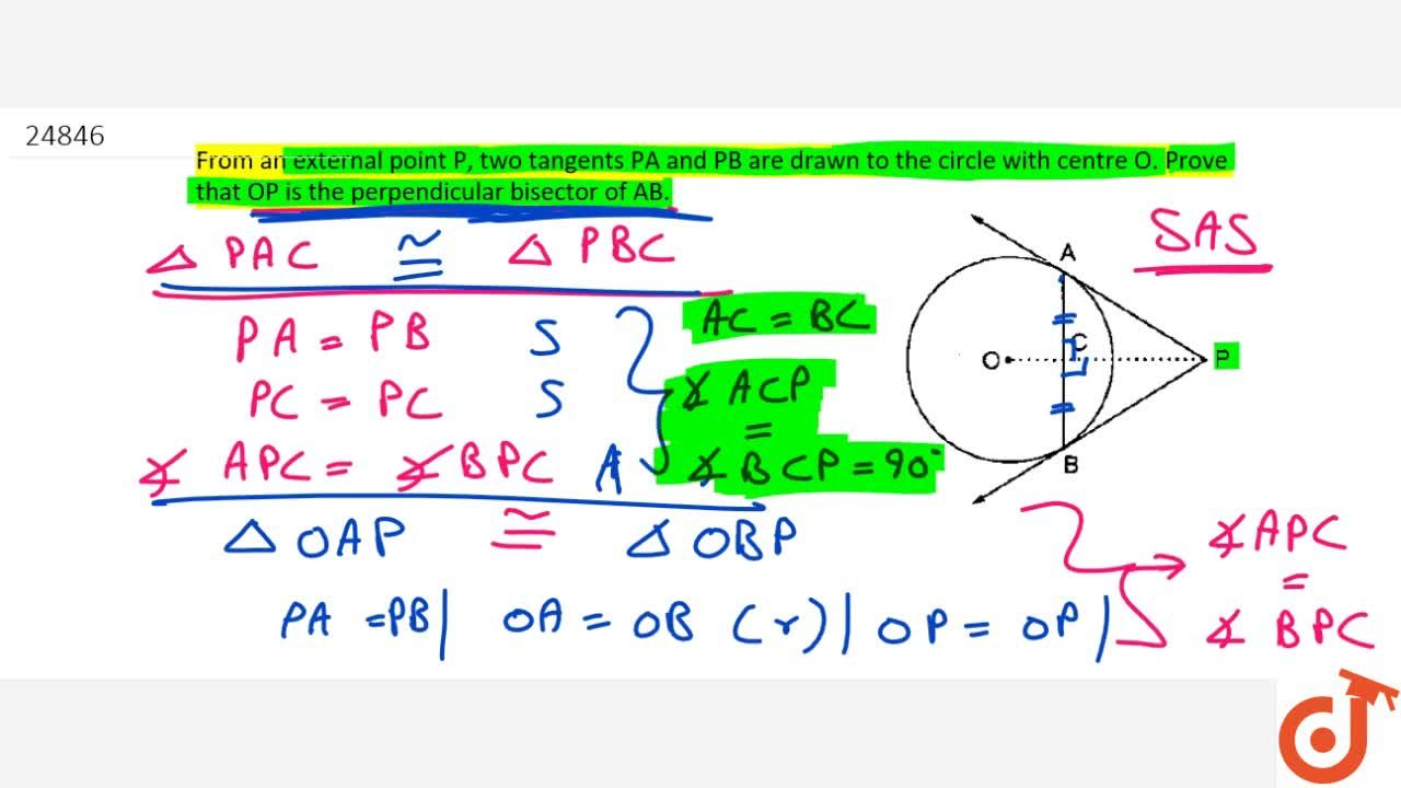 Solution for From an external point P , two tangents P Aa n