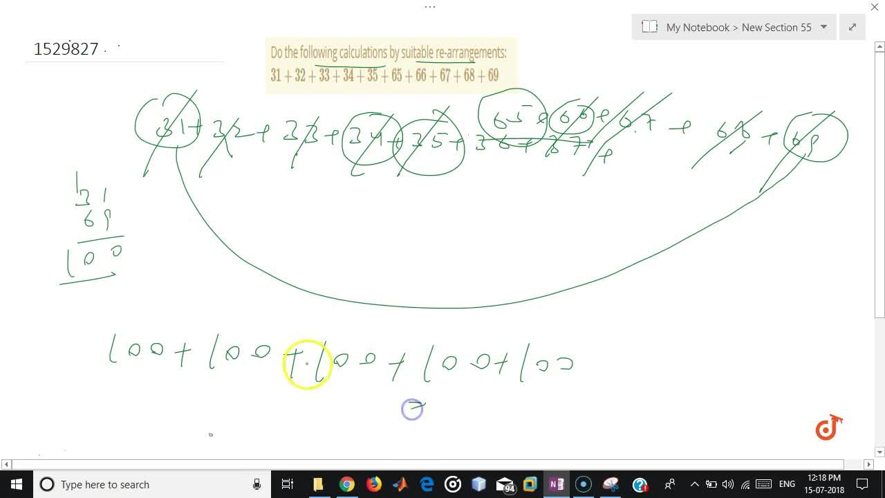 Solution for Do the following calculations by suitable   re-arr