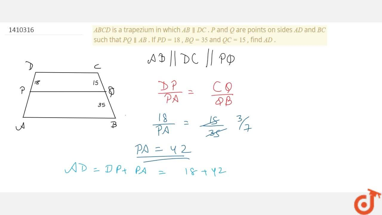 Solution for A B C D is a trapezium   in which A B  D C .