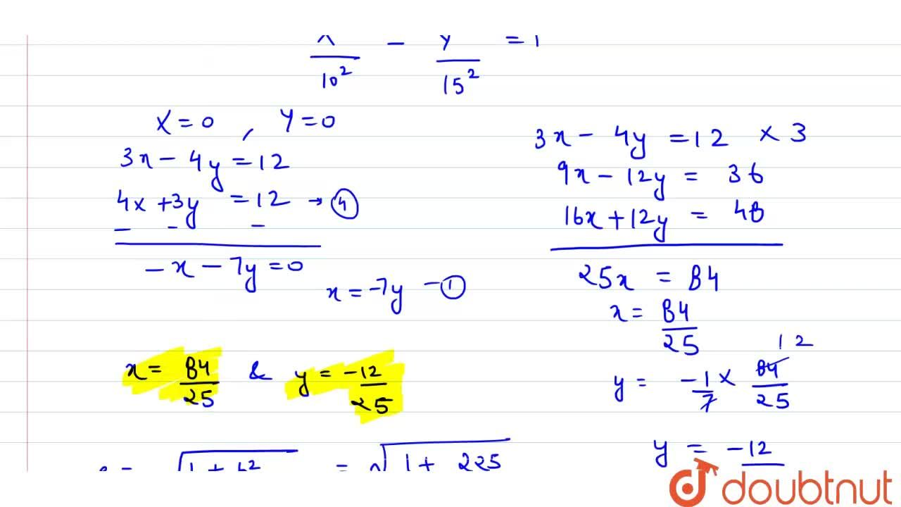 Find the coordinates of the foci    and the centre of the hyperbola ((3x-4y-12)^2,100)-((4x+3y-12)^2,225)=1