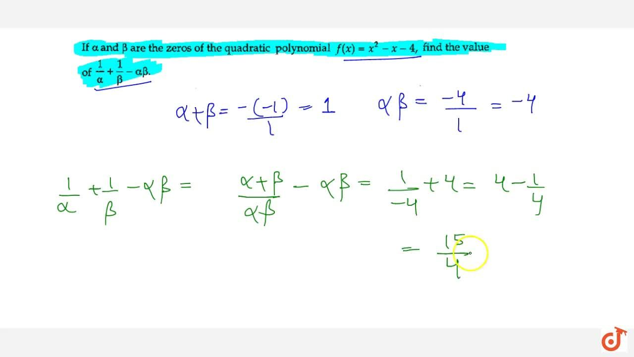 If alpha and beta are the zeros of the quadratic