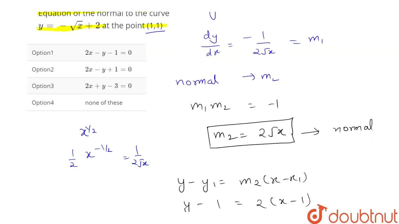 Equation of the  normal  to the  curve y=-sqrt(x)+2 at the point (1,1)