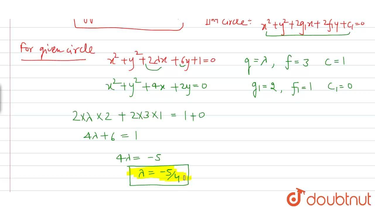 The value of lambda for which the circle x^(2)+y^(2)+2lambdax+6y+1=0 intersects the circle x^(2)+y^(2)+4x+2y=0 orthogonally, is