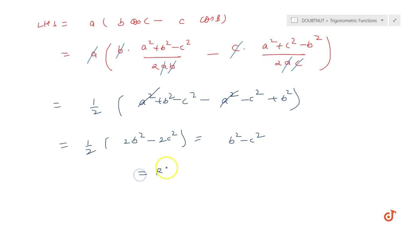 For any triangle ABC, prove thata(bcosC-c cosB)=b^2-c^2