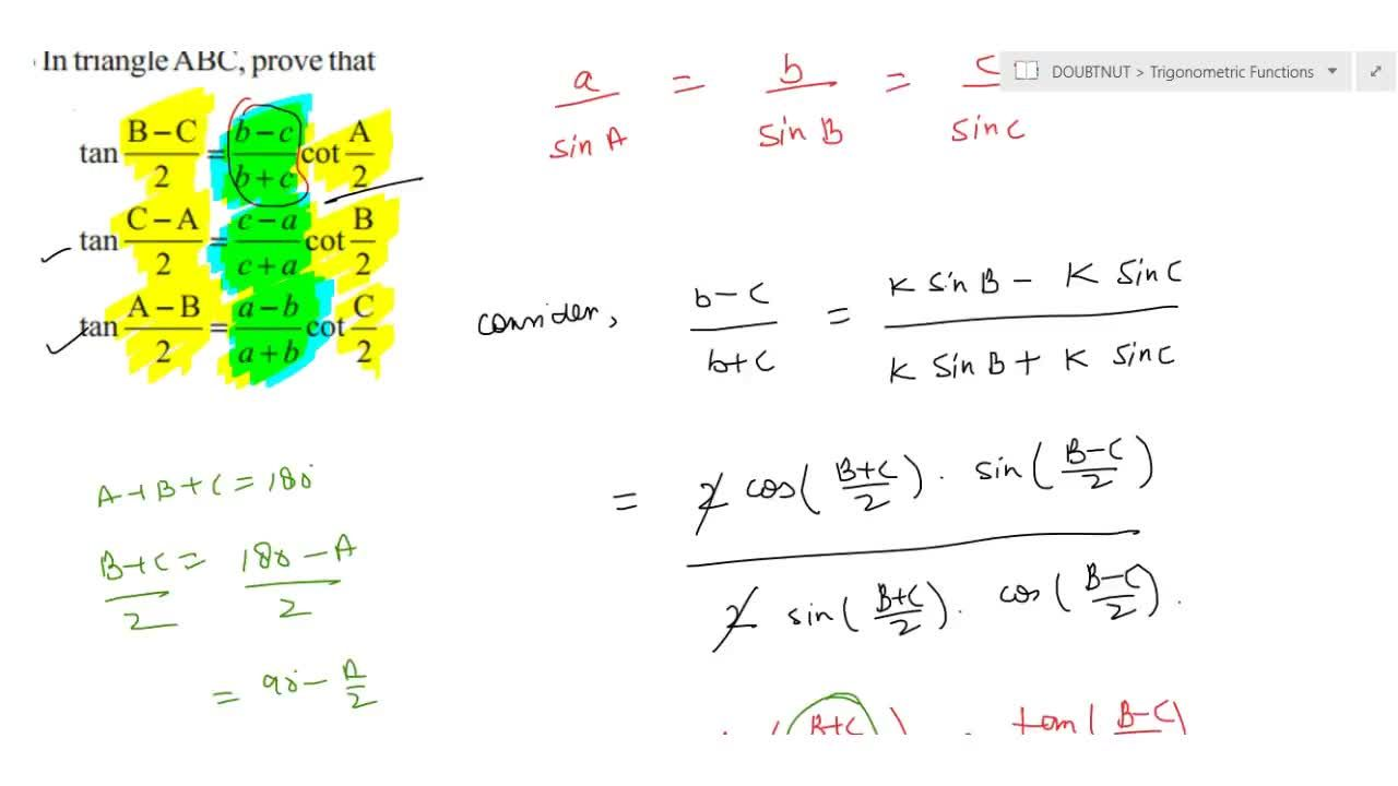 Solution for  In triangle ABC , prove that tan (B-C),2 =[( b-c