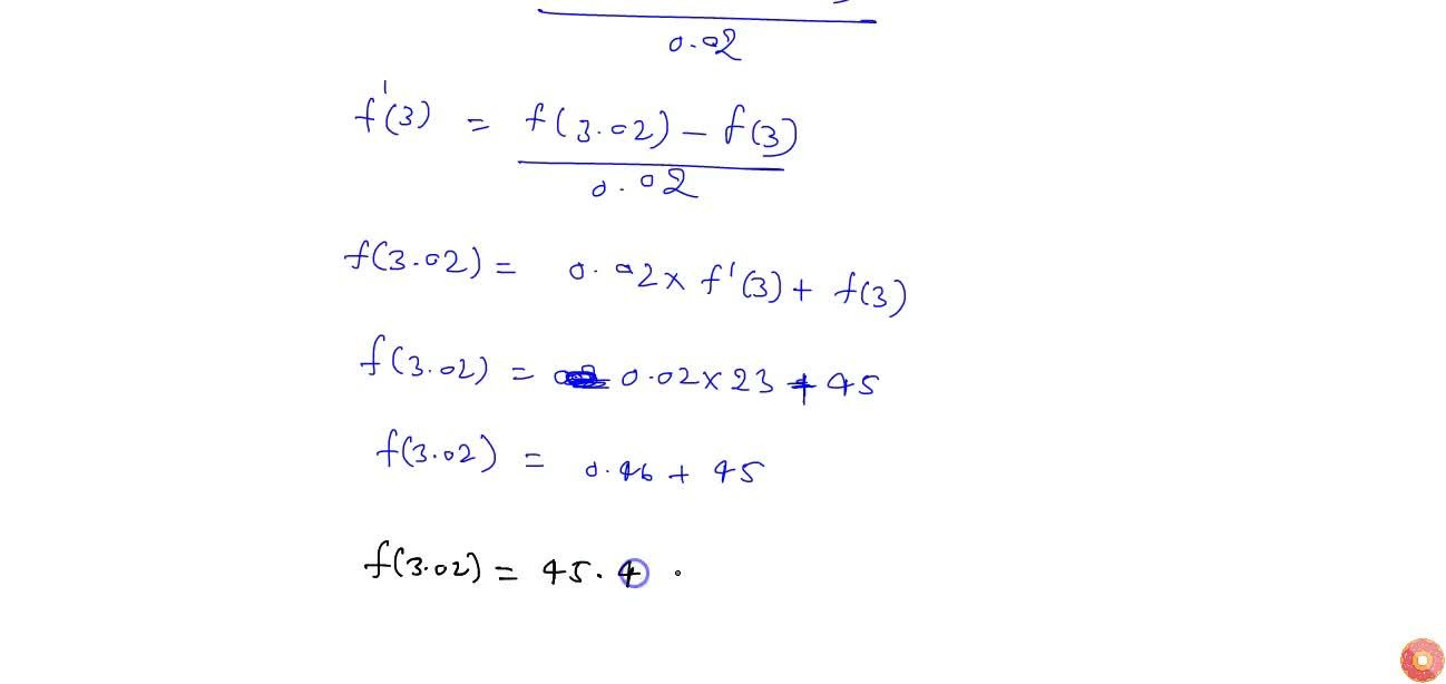 Find the approximate value of f(3. 02), upto 2  places of decimal, where f(x)=3x^2+5x+3.