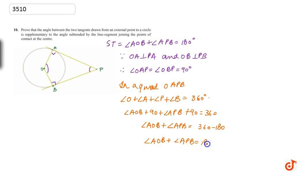 Solution for Prove that the angle between the two tangents draw