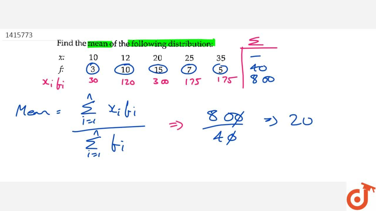Find the   mean of the following distribution: